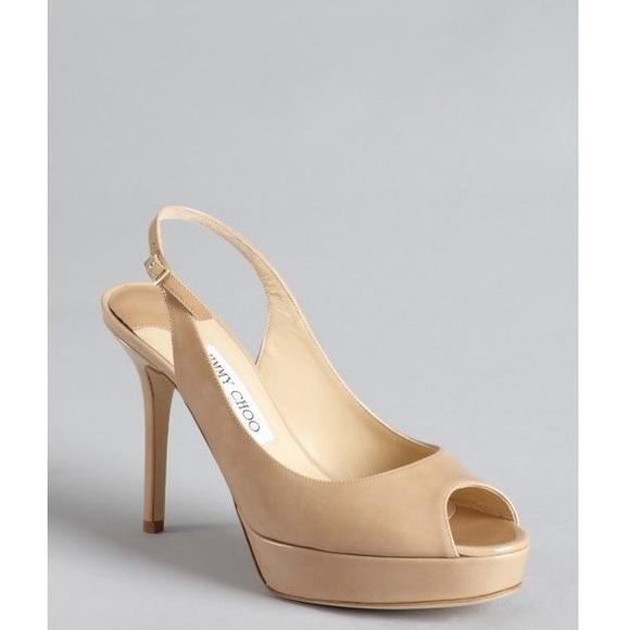 520c3c2bc595 Jimmy Choo Shoes - Jimmy Choo Patent Leather Nude Slingback Heel